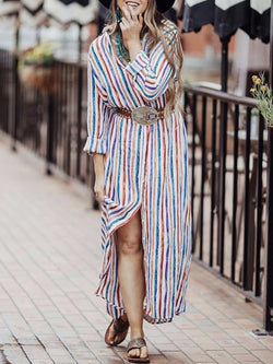 Colorful striped casual long sleeve shirt dress