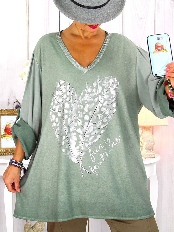V-neck Feather Print Loose T-shirt Top
