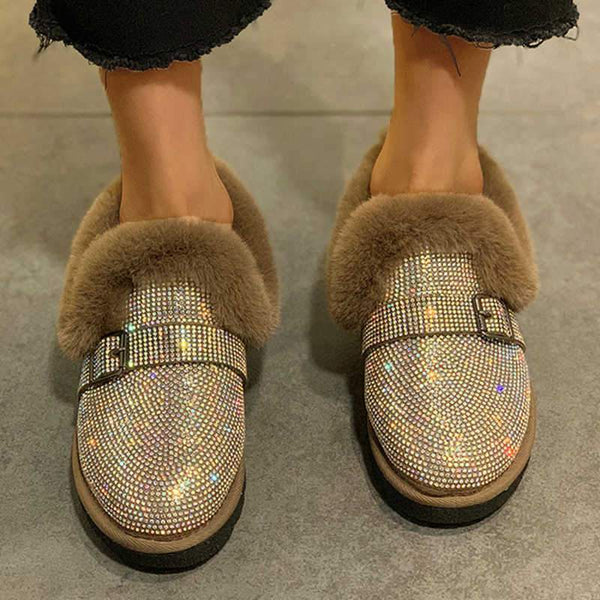 Plain Cotton Leather Shoes Rhinestone Short Boots