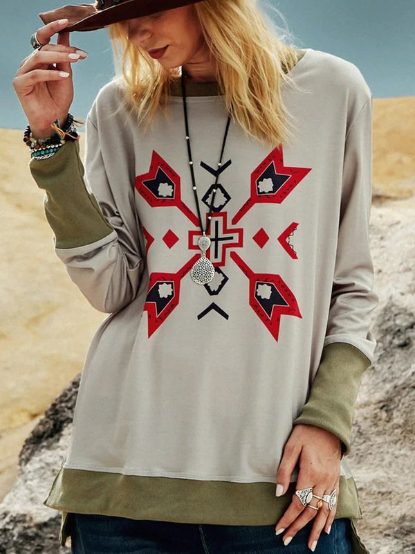 Western Clash Long Sleeve Geometric Sweatshirt
