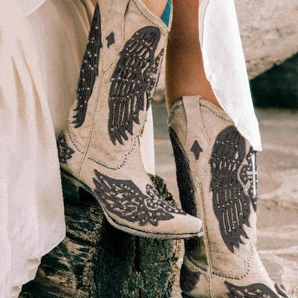 Women's Wing Embroidered Boots
