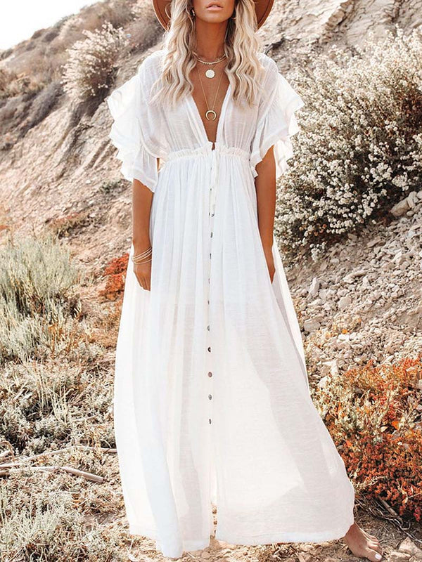 Boho Ruffle Short Sleeve Swing Beach Maxi Dress