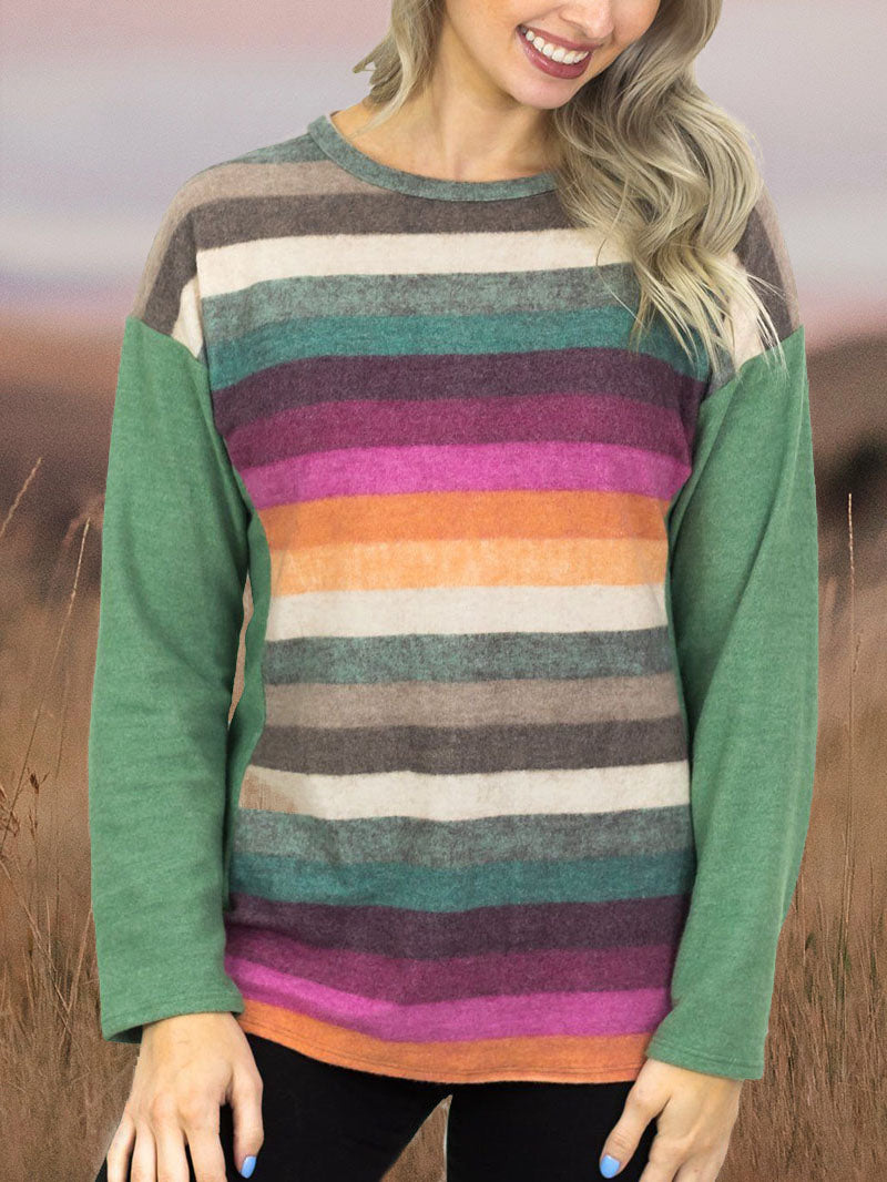 Western Geometric Print Turtleneck Sweatshirt Tops-3