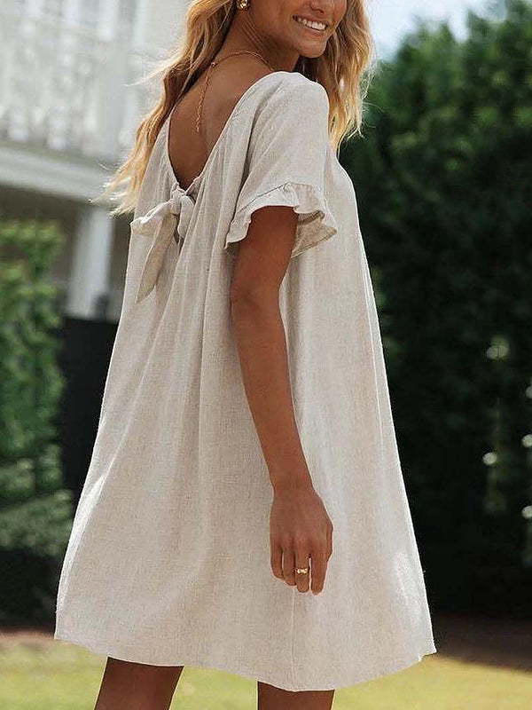 Cotton and Linen Solid Backless Mini Dress
