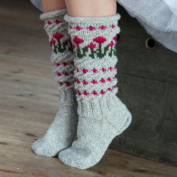 Patchwork Small Flowers Pattern Knit Stockings