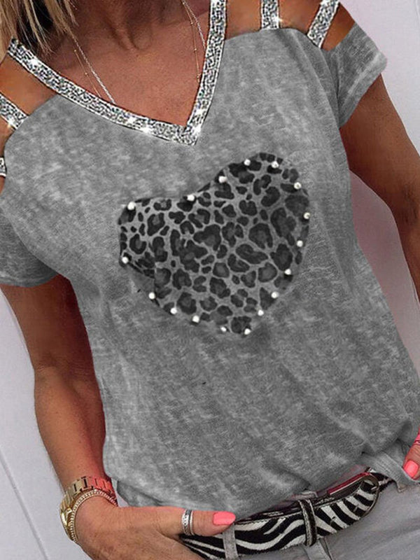 Women's leopard print heart-shaped glitter strapless short-sleeved tops