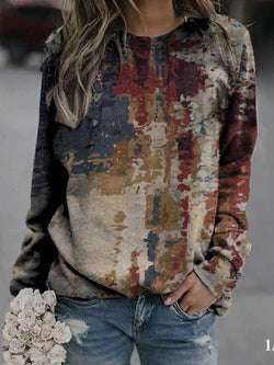 Autumn Tie-dye Print Street Style Loose Round Neck Long Sleeve Sweatshirt