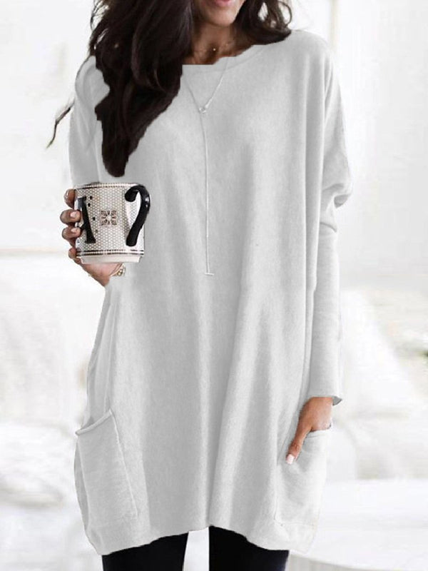 Round Neck Solid Color Loose Casual Long-sleeved Sweater