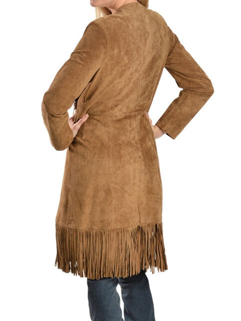 Vintage Solid Color Deerskin Velvet Fringe Long Sleeve Jacket