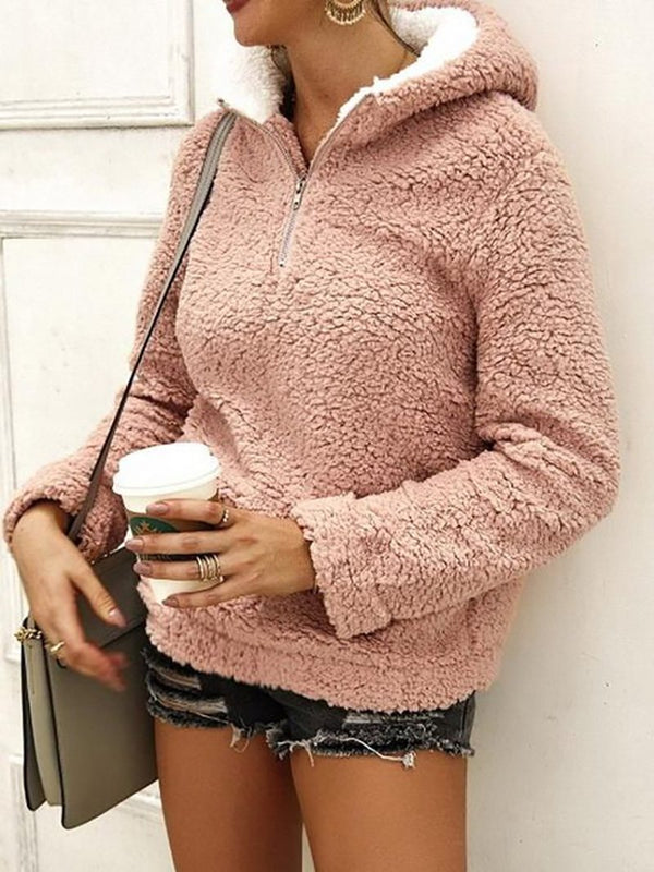 Plush hooded casual pullover sweater