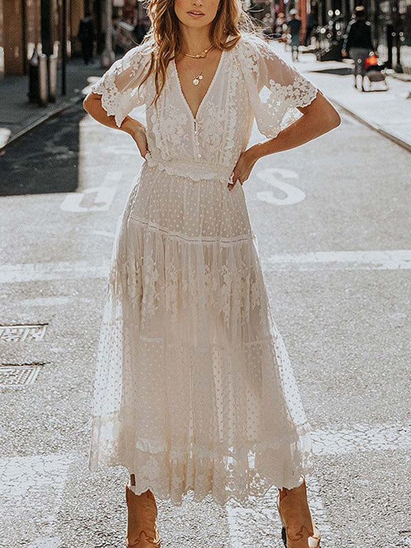 Bohemian V-neck Lace Maxi Dress
