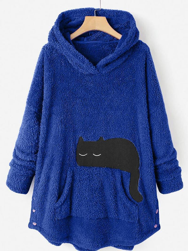Hooded Sweatshirt with Double Fleece Cat Pocket Embroidery