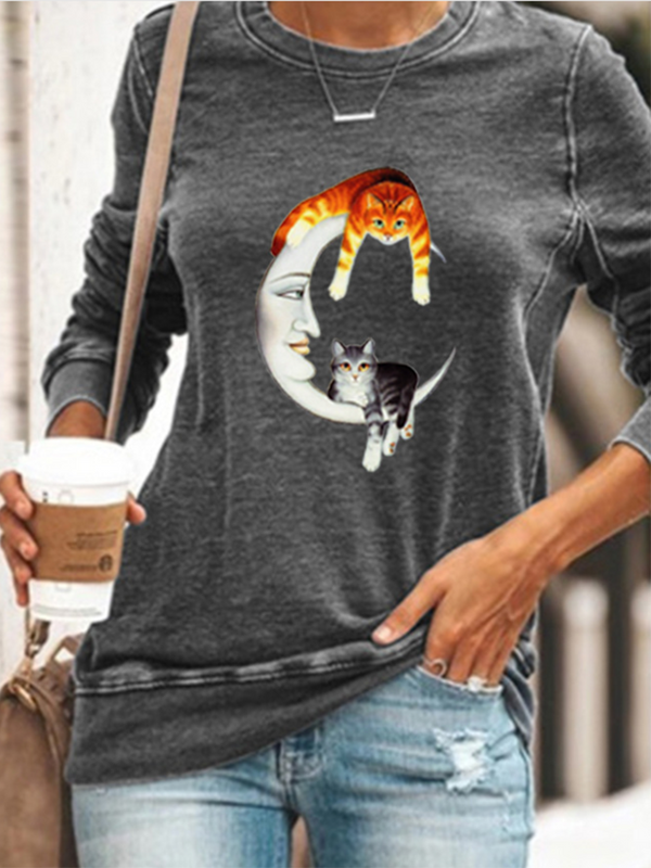 Cat Print Sweatshirt on The Moon