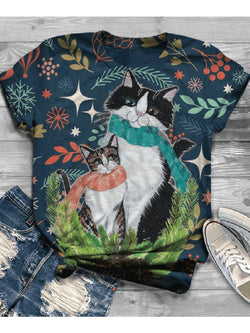 Women's Plus Size Christmas Cat Print Tops