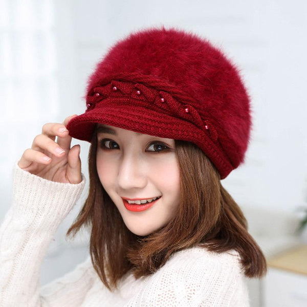 Fashionable Pure Color Rabbit Fur Warm Hood Knitted Hat