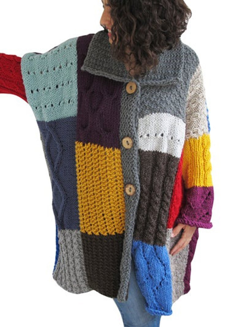 Multi-color Cardigan Hand Knitted Pocket Sweater Coat