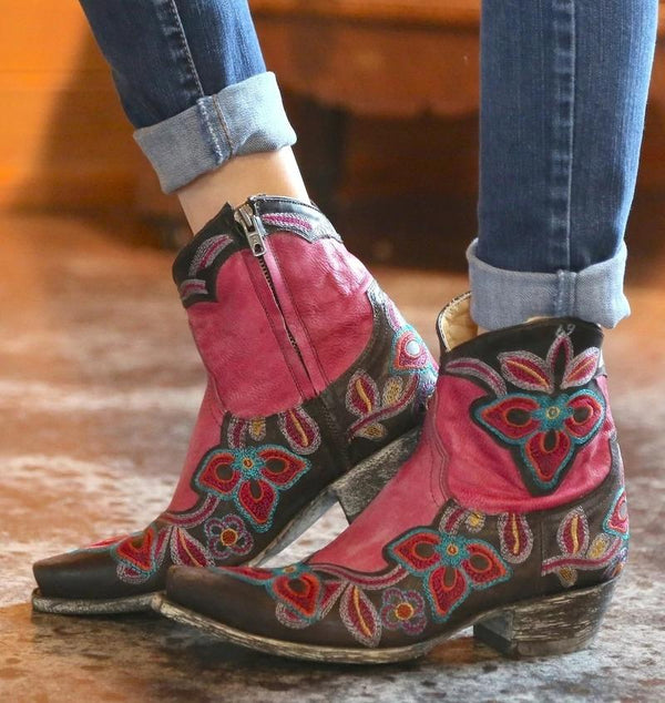 Embroidered Thick-heeled Cavalier Boots