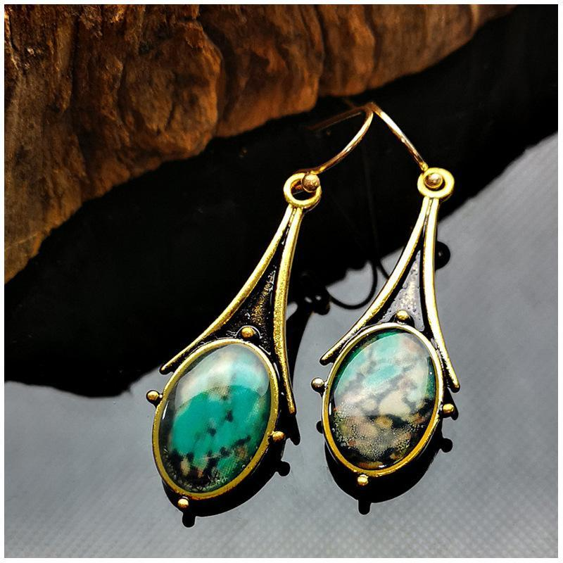 Fashion Drop Shaped Flower Color Turquoise Earrings