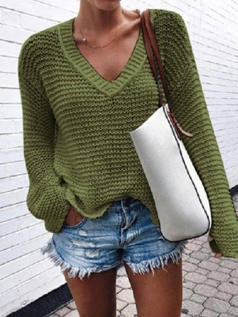 Fashion Solid Color V-neck Knitted Top