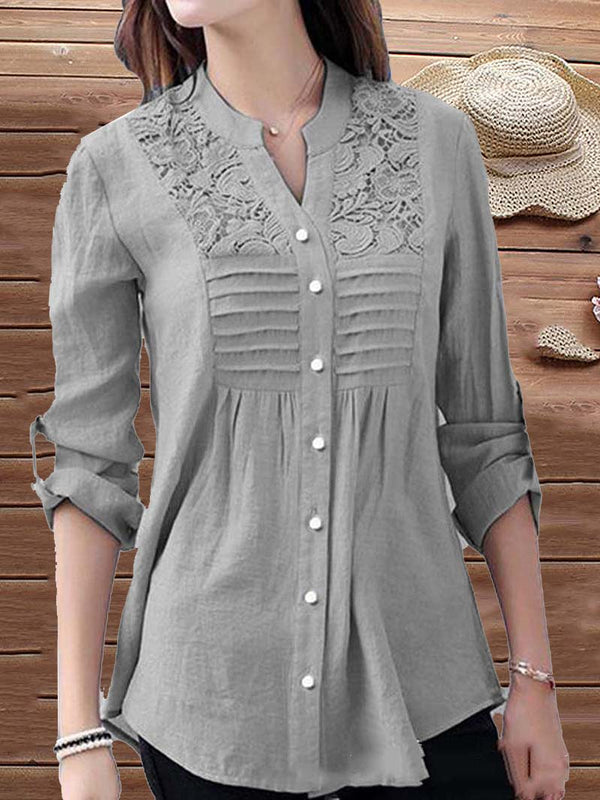 Casual Embroidery Long Sleeve Tops Blouse