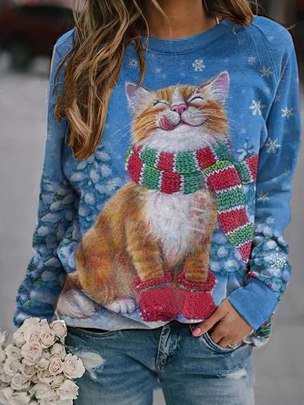 Cat Christmas Print Sweatshirt