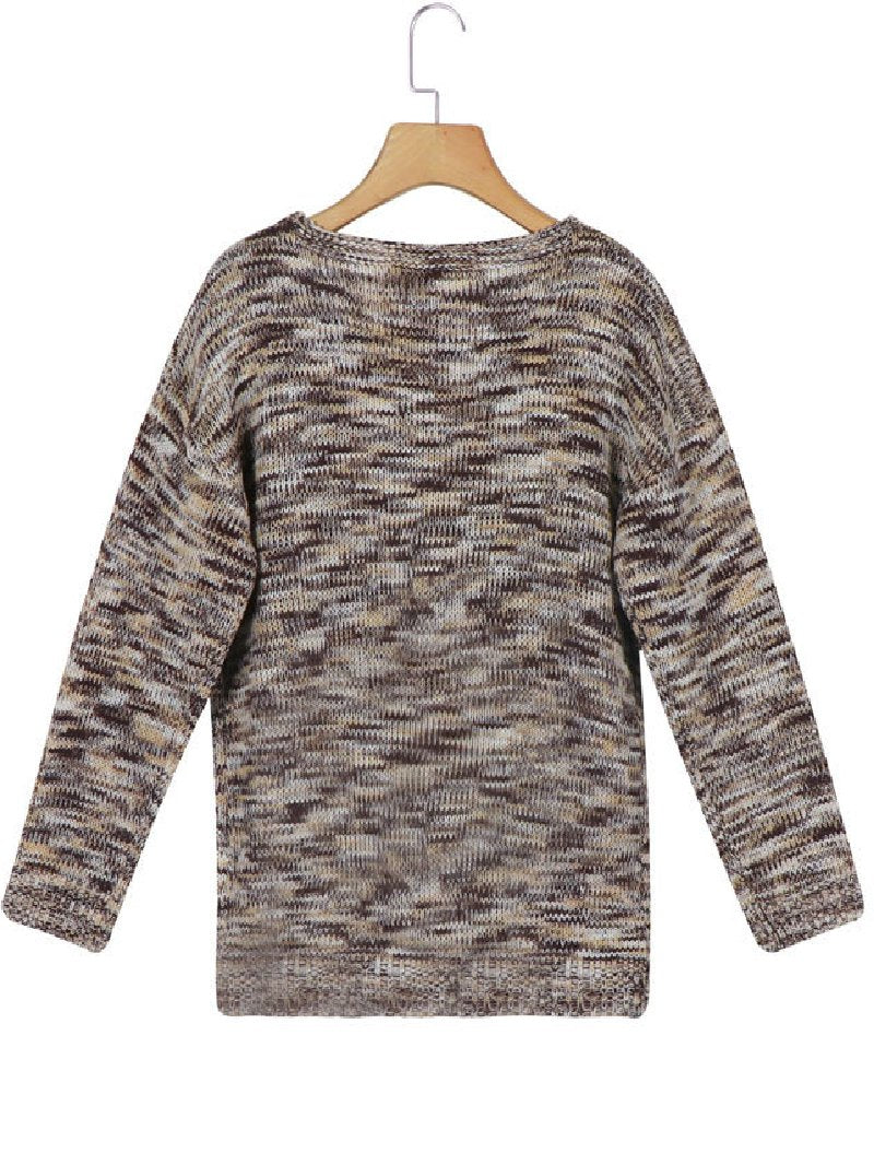 Autumn New Casual Long-sleeved V-neck Camouflage Sweater