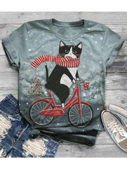 Women's Plus Size Christmas Cat Digital Print Tops