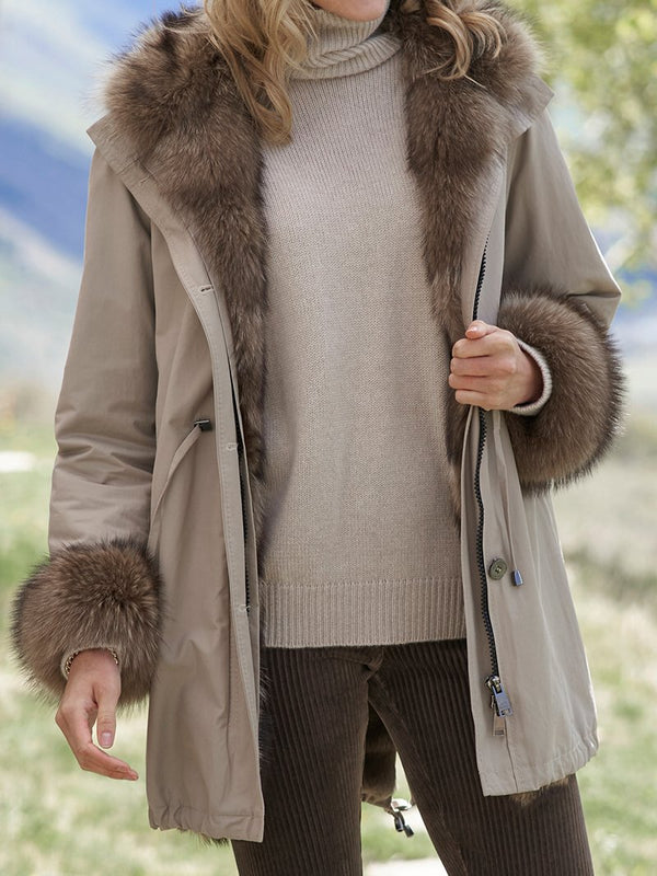 Plush Coat with Fleece Collar and Solid Color Coat