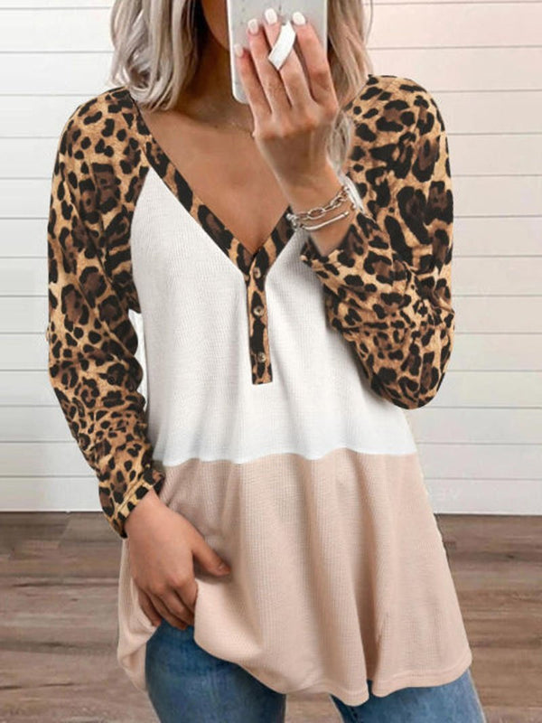 Women's Color Blocking Leopard Print Sleeves Long Sleeve Tops