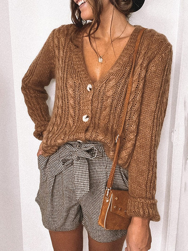 Knitted Solid Color Cutout Cardigan Jacket