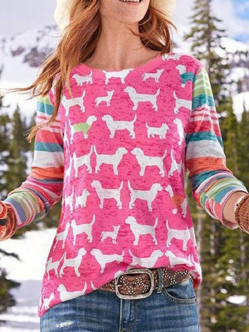Casual Print Round Neck Long Sleeve Tops