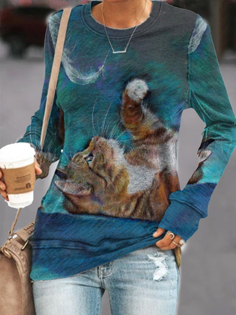 Cat Print Long Sleeve Sweatshirt