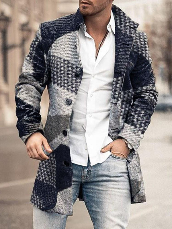 Lapel Print Mid-Length Spring Single-Breasted Coat