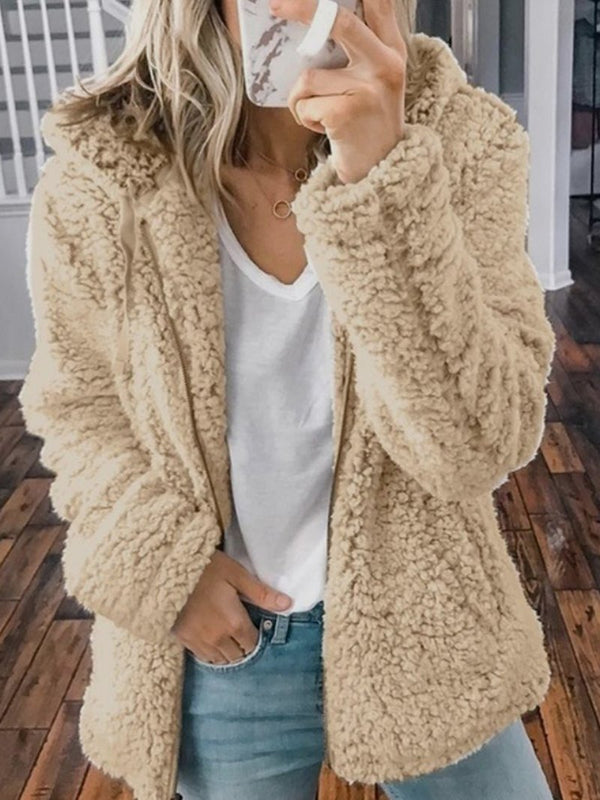 Autumn and Winter New Women's Casual Hooded Woolen Velvet Jacket