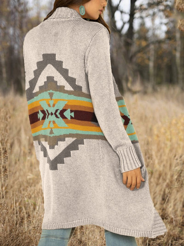 Women's Autumn/Winter Western Style Geometric Sweater Jacket