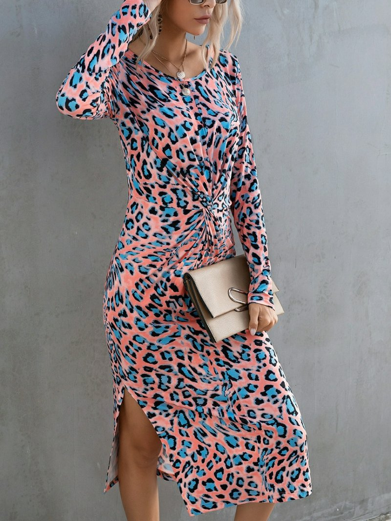 Women's Split Leopard Print Long Sleeve Hipster Dress