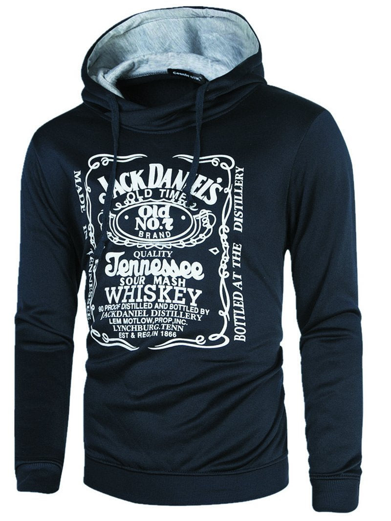 Men's Letter Print Slim Fashion Hoodie