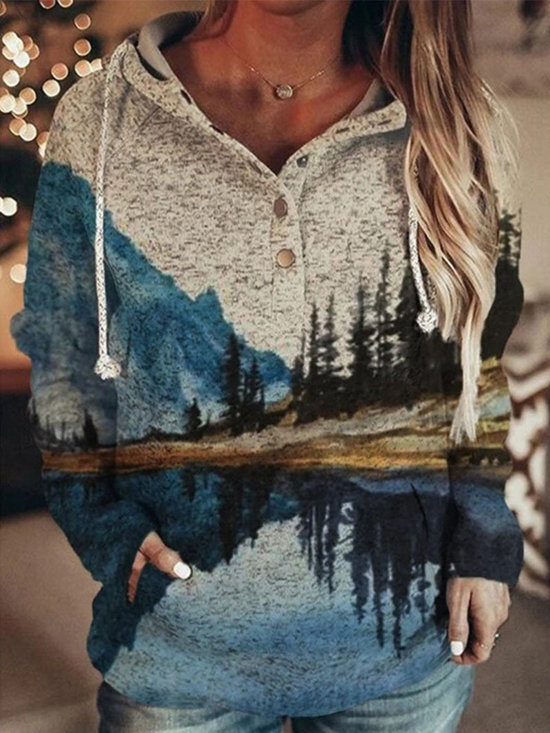 Landscape Printing Loose Hooded Long-sleeved Pullover Sweater