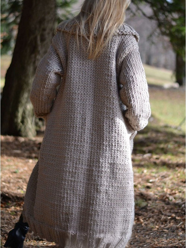 Long Cardigan Buttons Hand Knitted Pocket Sweater Coat