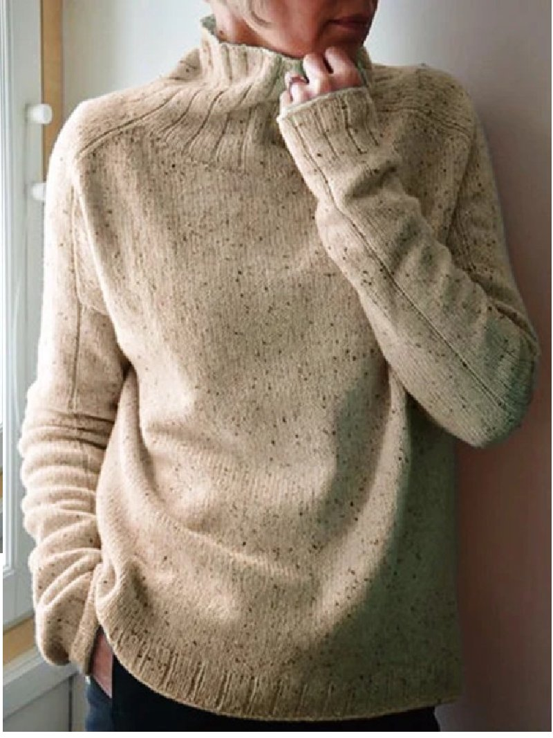 Long Sleeve Solid Color Casual Knitted Turtleneck Sweater
