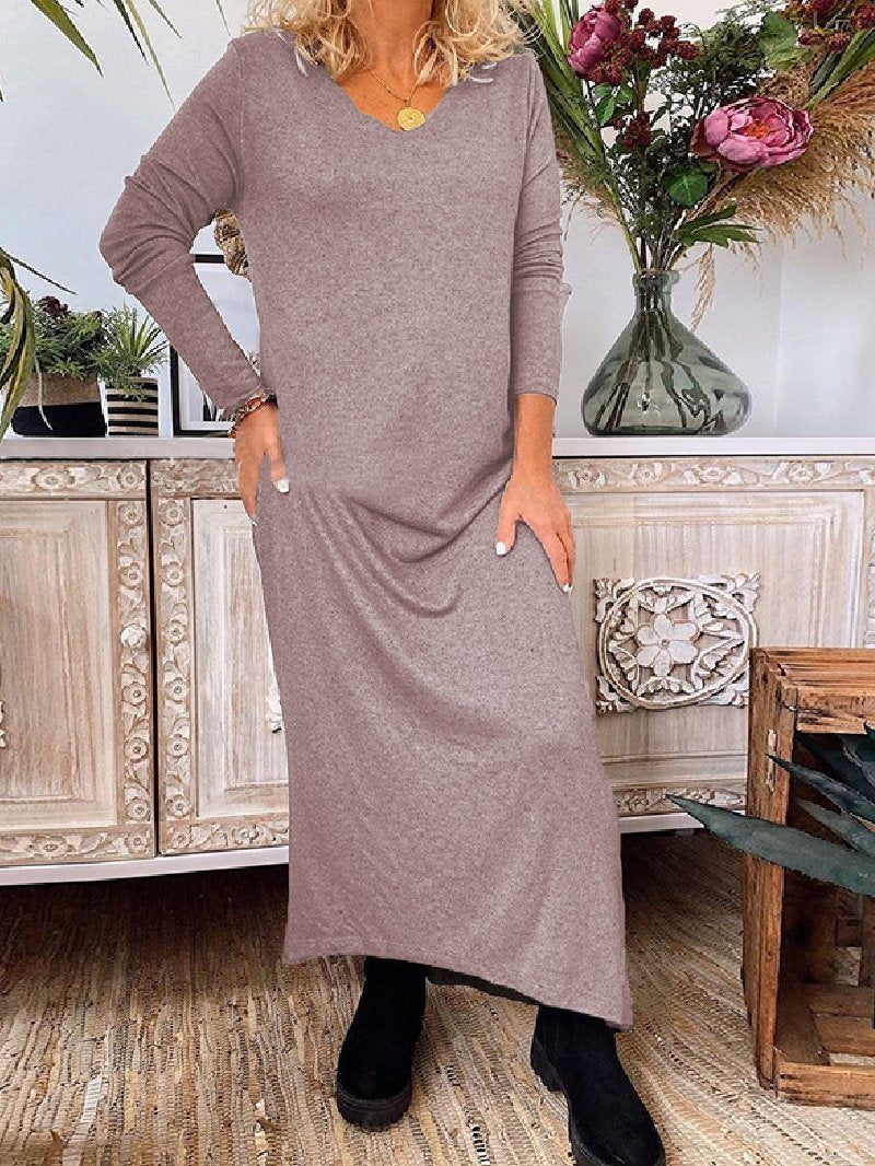Casual Knitted Solid Color V-neck Long Sleeve Dresses
