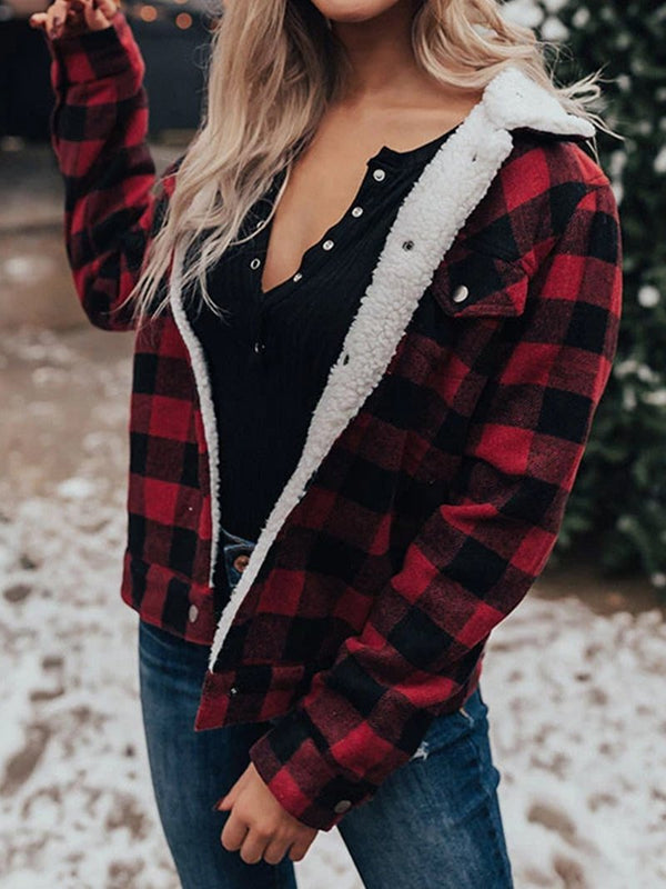 Fall and Winter Lambswool Clashing Plaid Thick Jacket