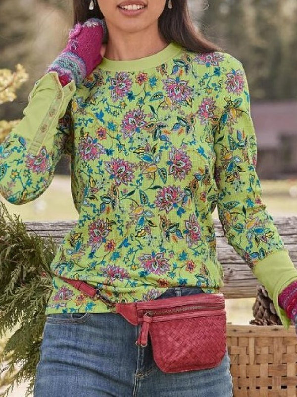 Retro Flower Print Round Neck Long Sleeve Top