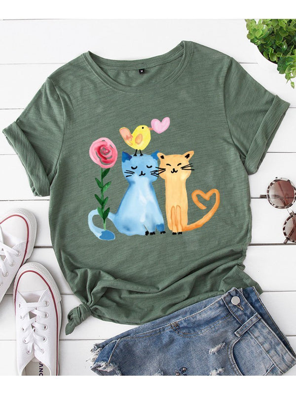 Oil Painting Heart-shaped Cat Short Sleeve T-shirt
