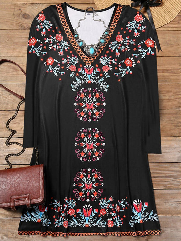Ethnic Style Totem Print Sexy V-neck Casual Dress