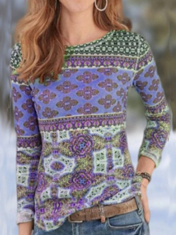 Autumn New Style Tribal Retro Print Round Neck Long Sleeve T-shirt