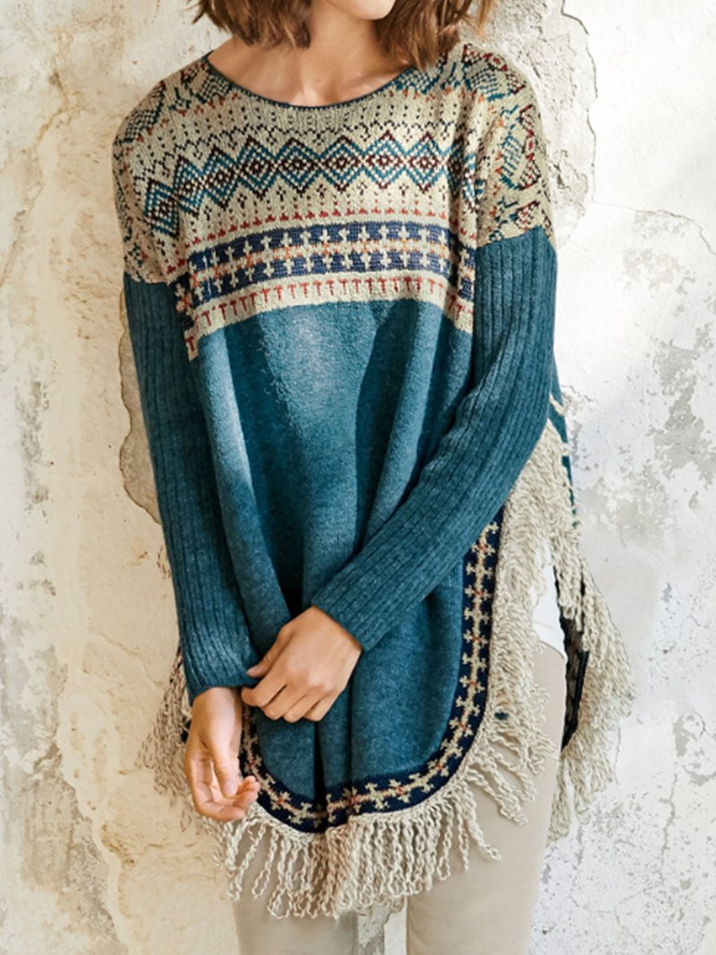 Holiday Geometric Tassel Sweater