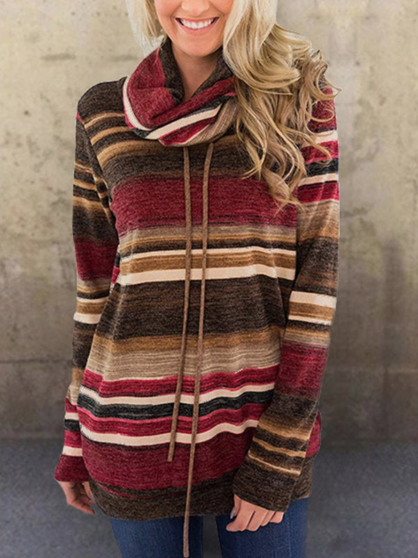 Striped Pocket Long Sleeve Sweatshirt with Stacked Collar