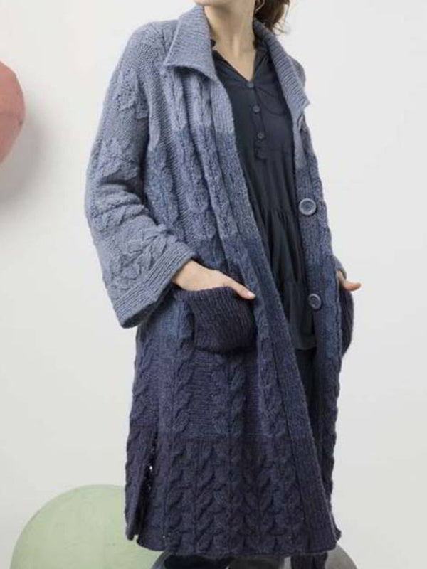 Fashion Gradient Color Long Knitted Jacket