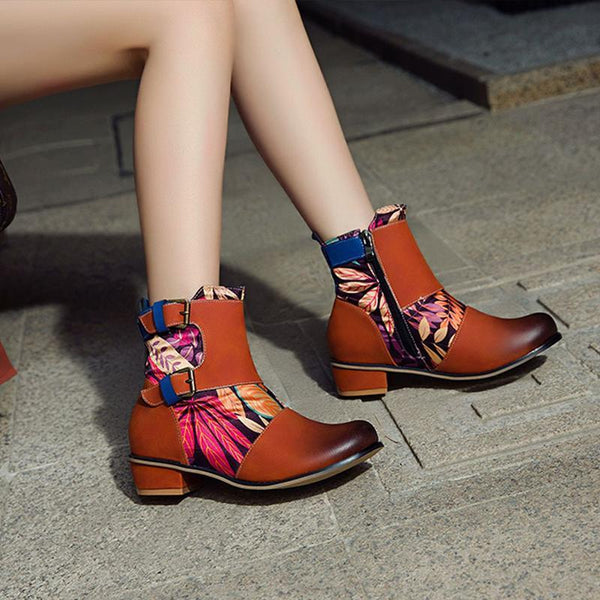 Printed Belt Buckle Short Boots